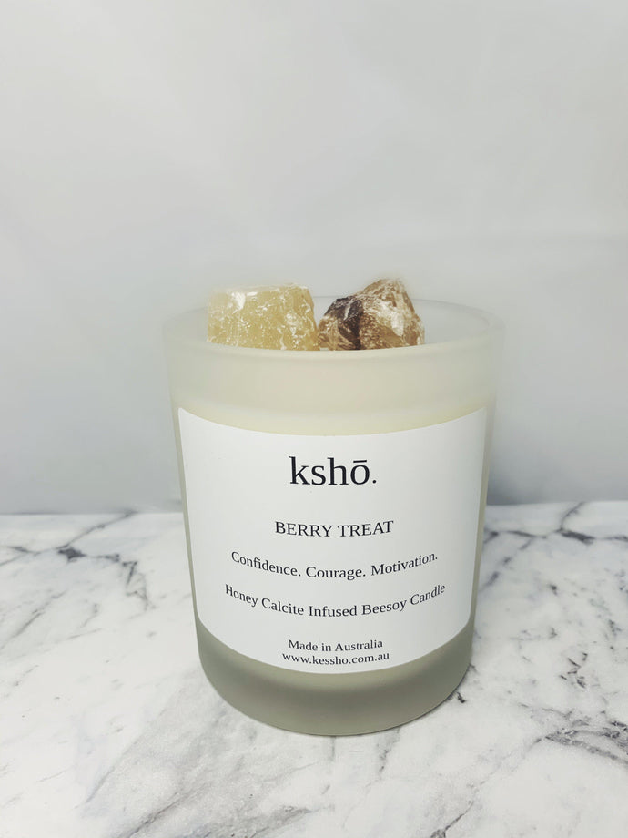 Honey Calcite Infused Beesoy Candle