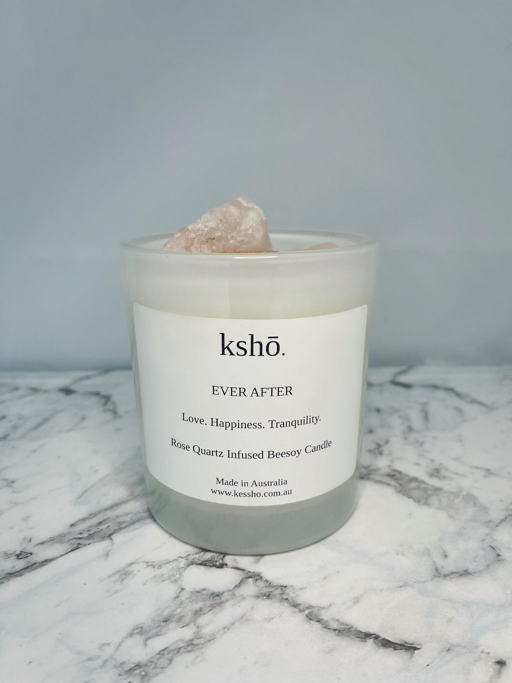 Rose Quartz Infused Beesoy Candle