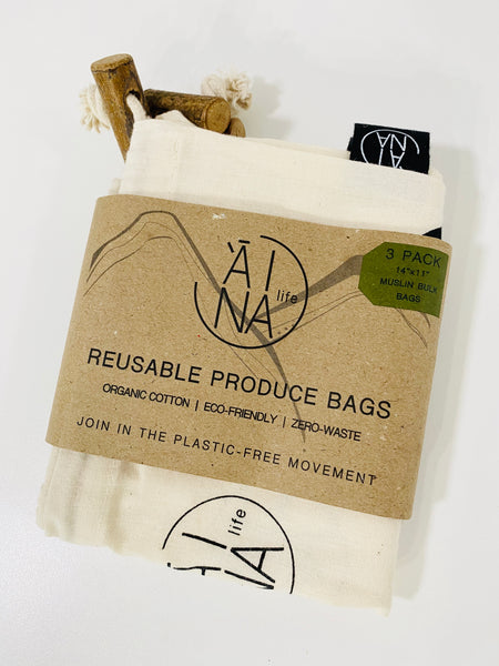 Reusable Muslin Produce bags - 3pack