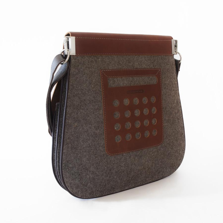 FLEX Messenger Bag - Grey with Tan Leather
