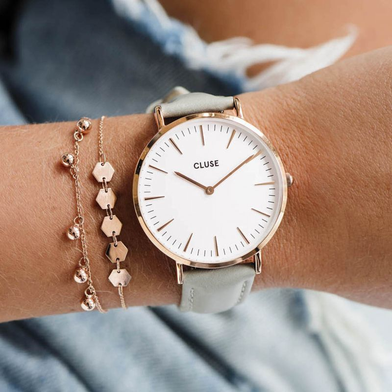 Cluse Boheme Watch - Rose Gold White/Grey