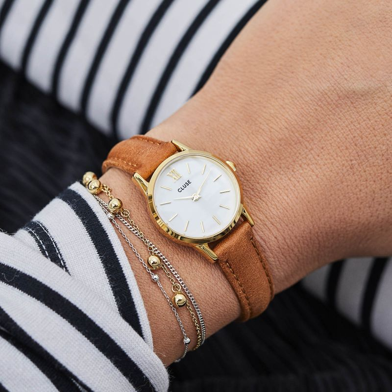 Cluse La Vedette Watch - Gold White/Caramel