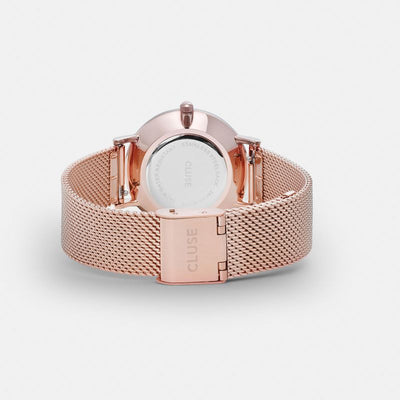 Cluse Minuit Mesh Watch - Rose Gold/White