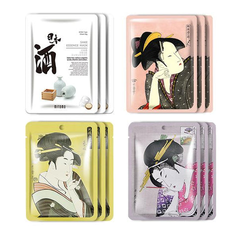 MITOMO Type H [JP UKIYOE trial set 12 sheets] Beautiful skin face mask - Made in Japan - Reward yourself, moisturize your skin. - Mitomo America