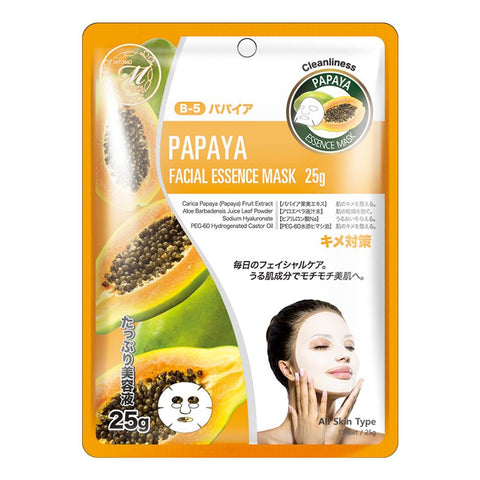 Japan MITOMO Natural Papaya Cleanliness Facial Essence Mask MT512-B-5
