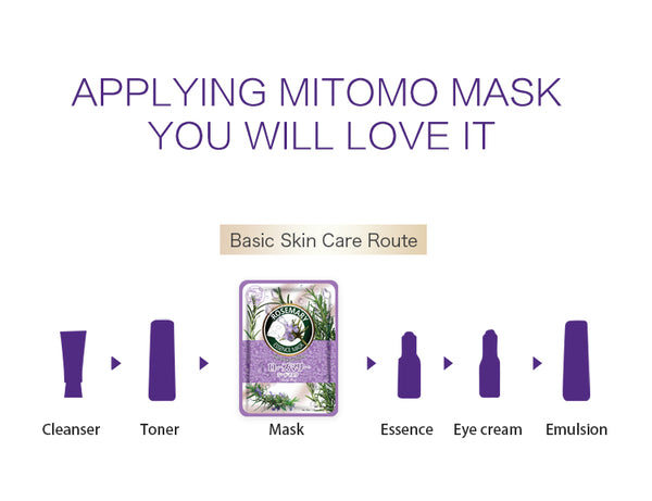 Japan MITOMO Natural Rosemary Vibrancy Smoothing Facial Essence Mask MT612-C-1