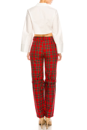 Pretty in Plaid Buckle Pants