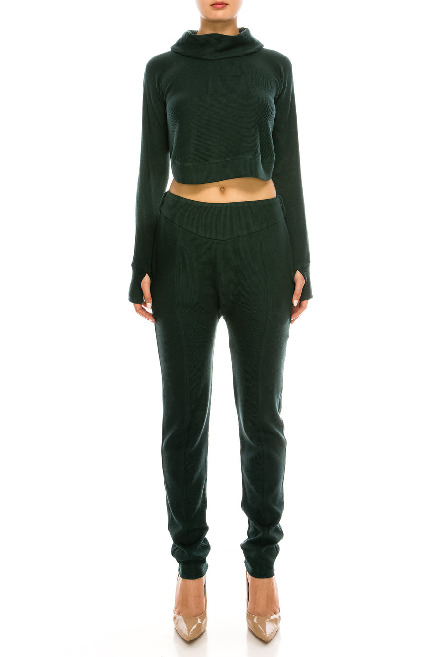 Knitted Low-slung Joggers-style Trousers