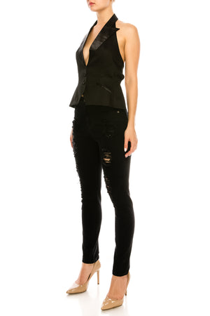 All-Black Open Back Vest