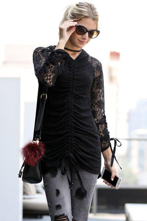 Lace Sleeves Ruched Hoodie Tunic Top