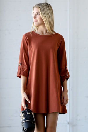 Folded Sleeve Shift Dress