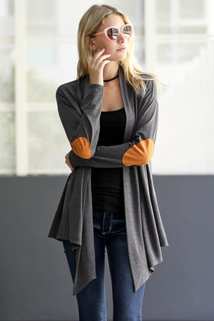 Faux Suede Patch Open Cardigan