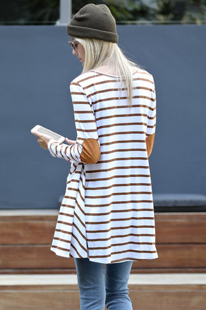 Women's Long Sleeve Elbow Patch Stripe Tunic Top