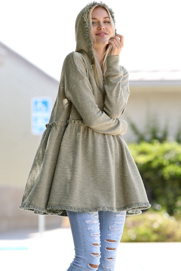 Babydoll Long Sleeve Casual Hoodie with Fringe Trim