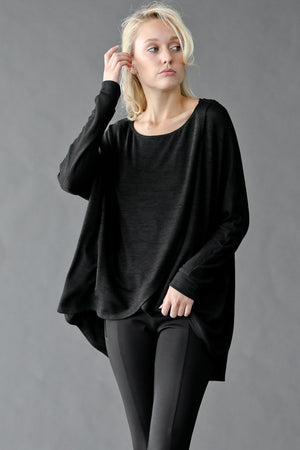 Front Split Round Neck Knit Sweater