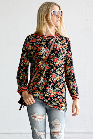 Long Sleeve w/ Band Detail Flower Print Casual Top