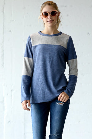 Color Block Long Sleeve Round Neck Top