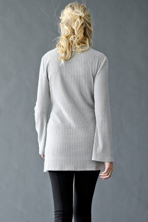 Choker Neck Ribbed Front Tie Sweater