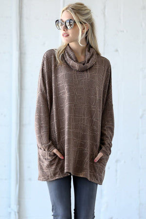 Front Pocket Turtle Neck Top