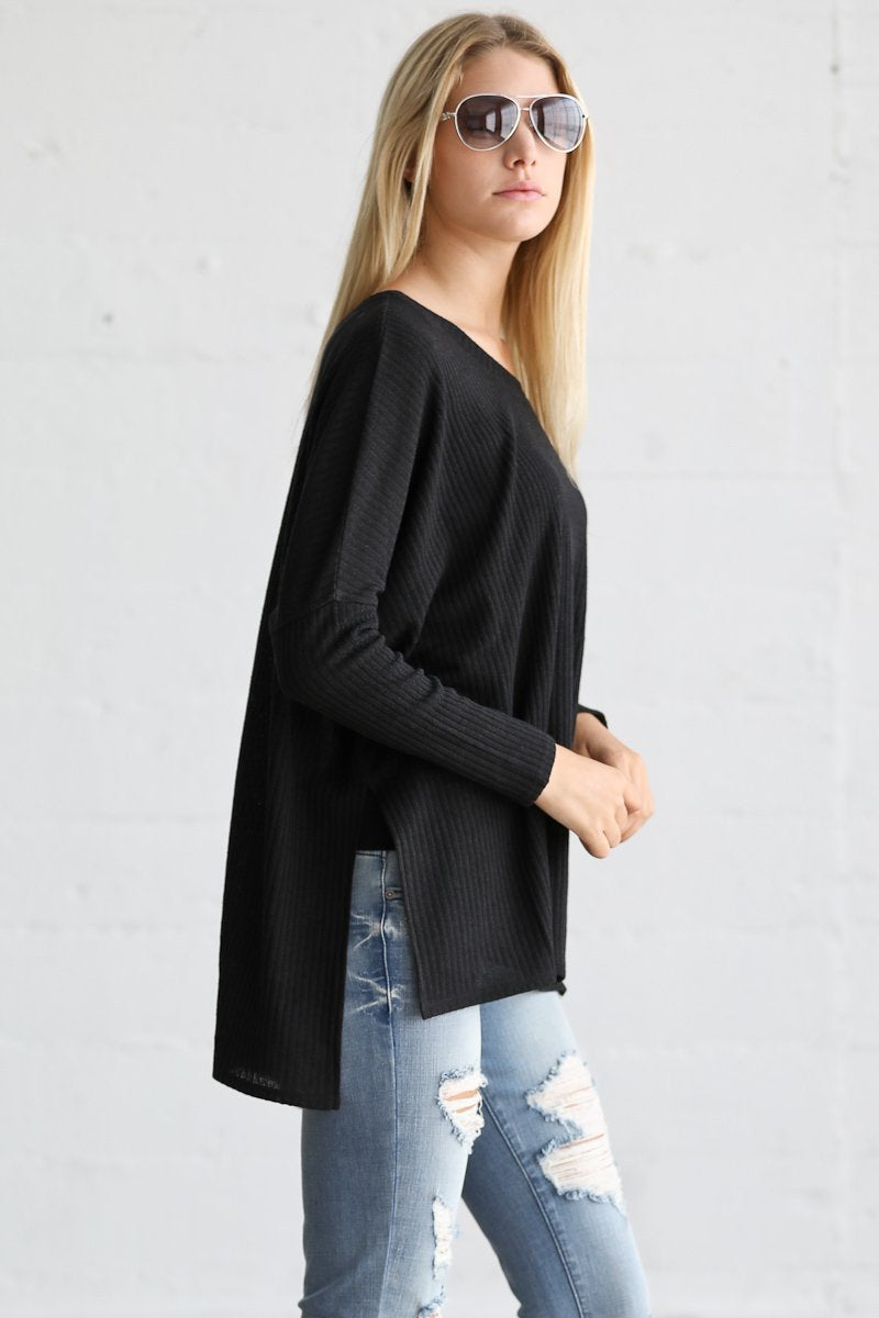Ribbed Casual Tunic Knit Sweater