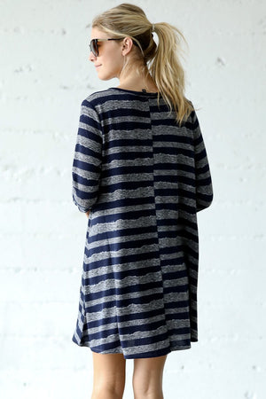 Vintage Stripe Detail Casual Dress