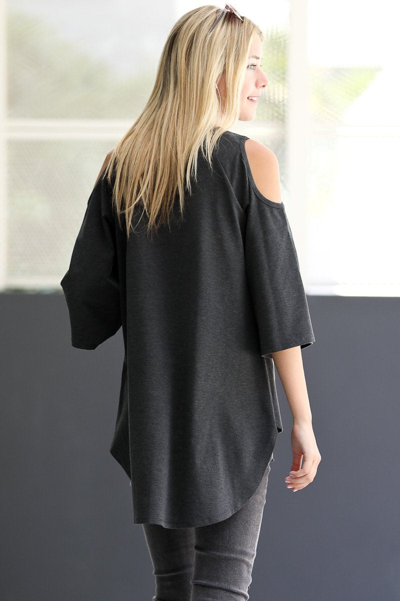 Cold Shoulder 3/4 Sleeve Casual Tunic Knit Top