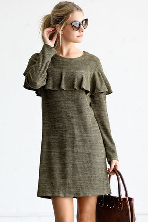 Long Sleeve Ribbed Sweater Dress