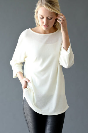 Textured Back Tie Rouched 3/4 Sleeve Top