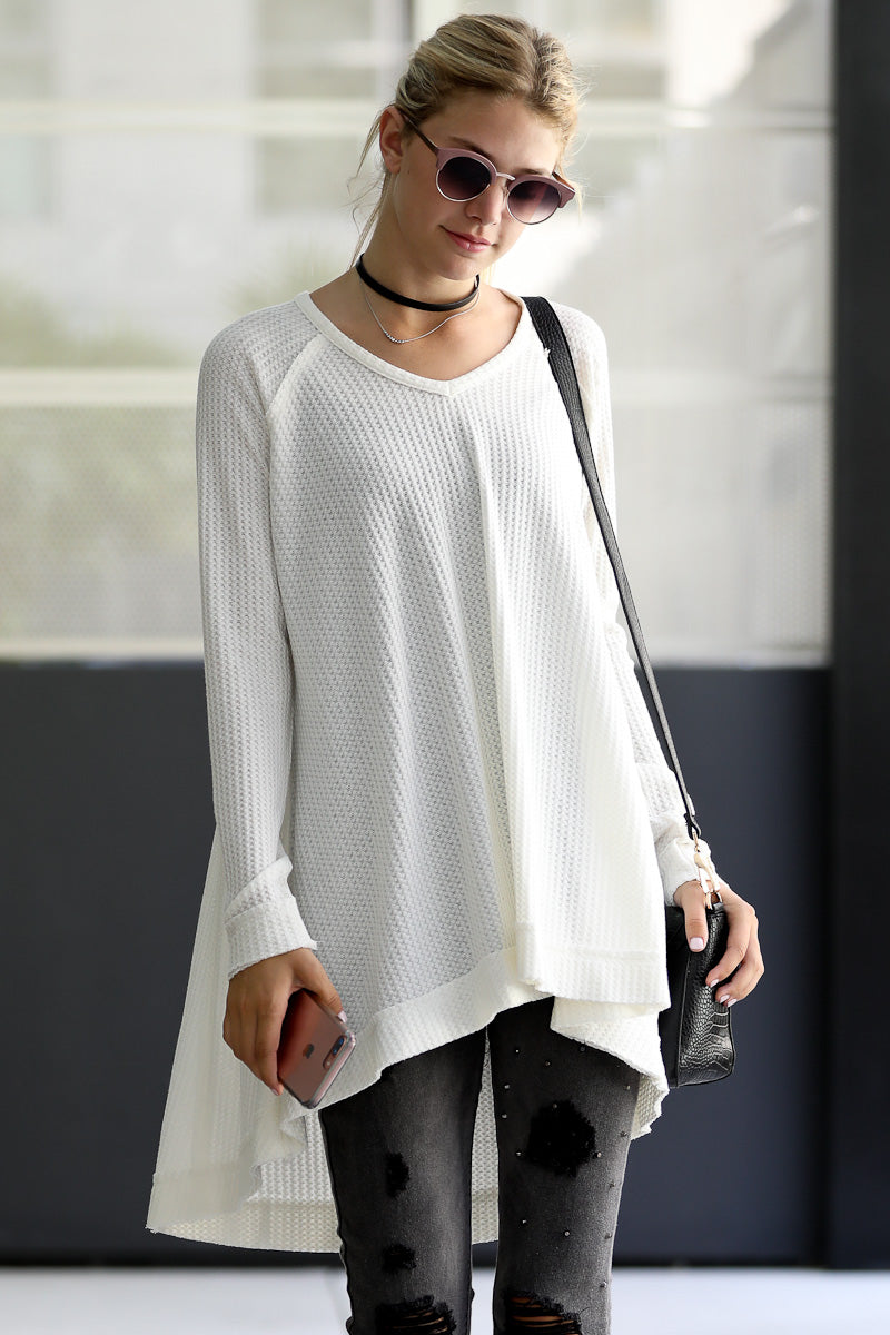 High Low Thermal Tunic V-neck Knit Top