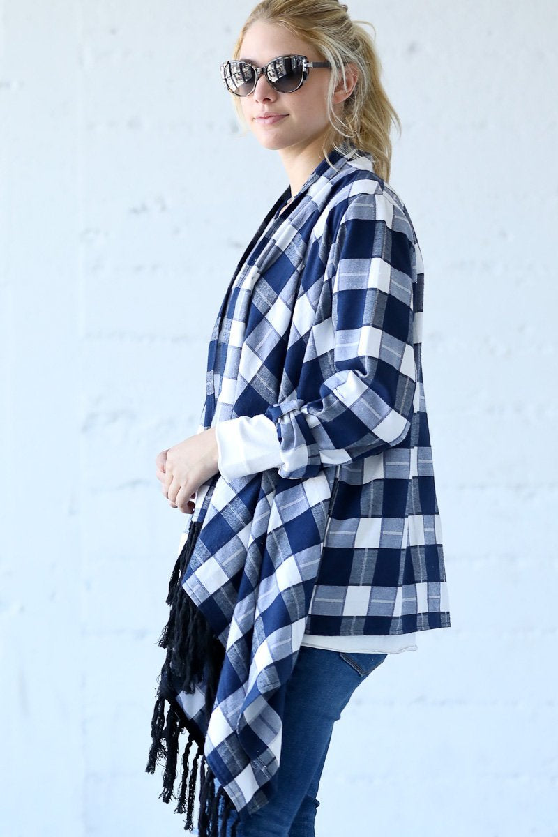 Plaid Poncho-like Cardigan with Fringe Detail