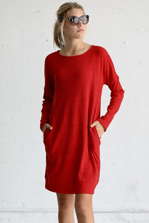 Long Sleeve Ribbed Knit Sweater Dress
