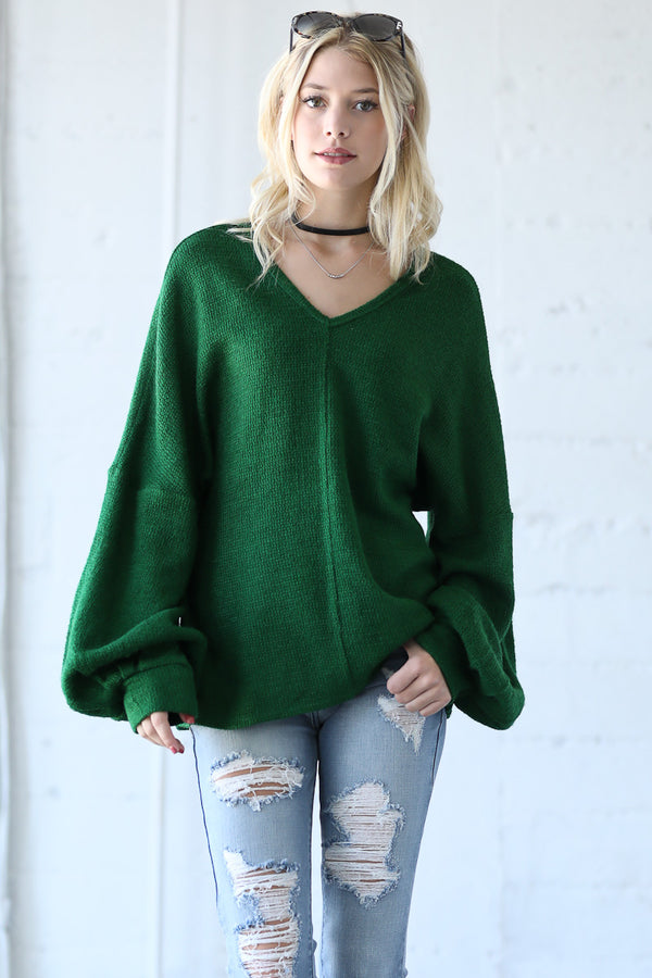 V Neck Balloon Sleeve Sweater Top