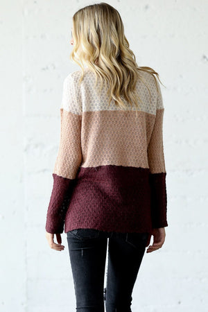 Burgundy Wide Color Block Sweater