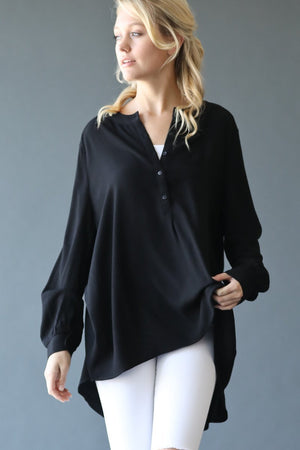 Long Sleeve Woven Tunic Top