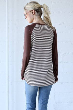 Lace Patch Detail Stripe Casual Raglan Top