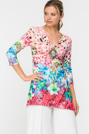 Floral 3/4 Sleeve Top with Jewel Front detail
