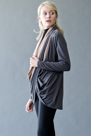 Black Cowl Neck Front Scarf Wrap Knit Cardigan Top