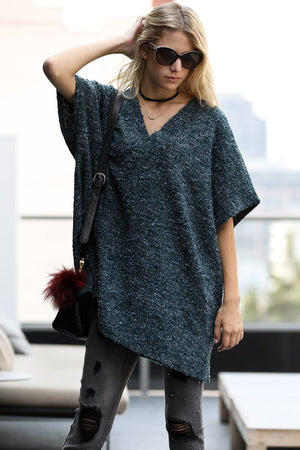 V-neck Boucle Tunic Sweater