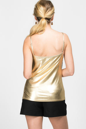 Lace-Trimmed Metallic foil Camisole