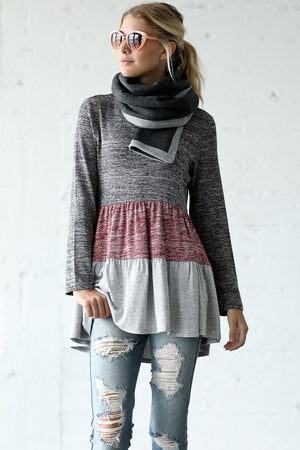 Color Block Round Neck Long Sleeve Knit Sweater