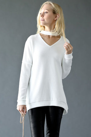 Choker Neck Knit Long Top