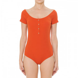 Round Neck Ribbed Bodysuit