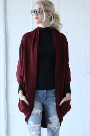 Cocoon Cardigan w/ Zipper Accent