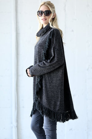Front Split Turtleneck Fringe Detail Tunic Sweater