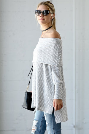 Off Shoulder High Low Tunic Top