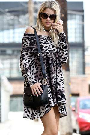 Off Shoulder Leopard Print Shift Dress