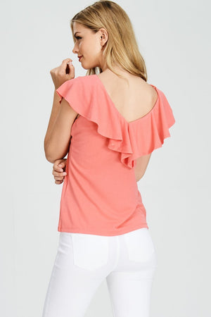 V neck Front Ruffle Fitted Top