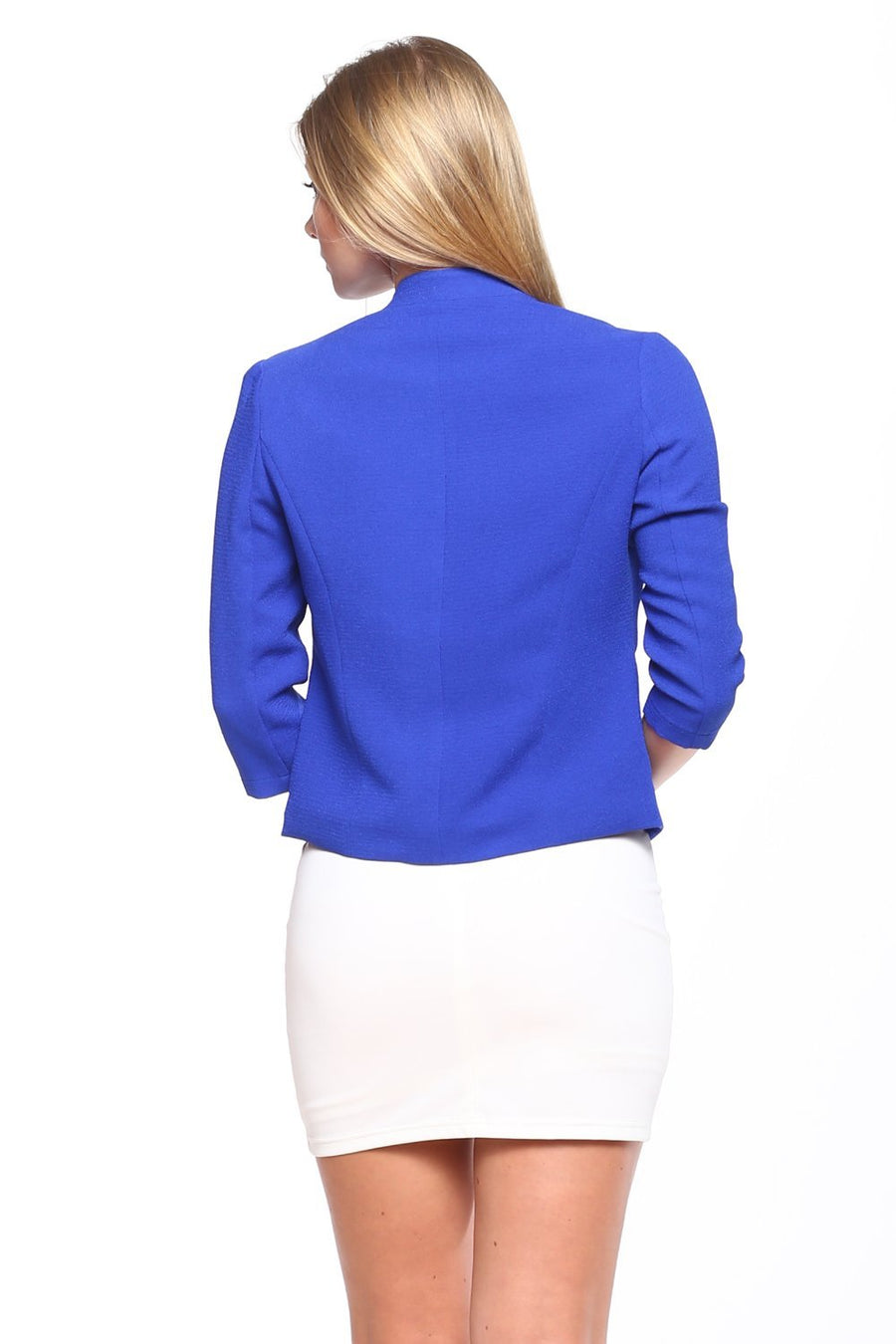 Open-Front Blazer with Zipper Pocket