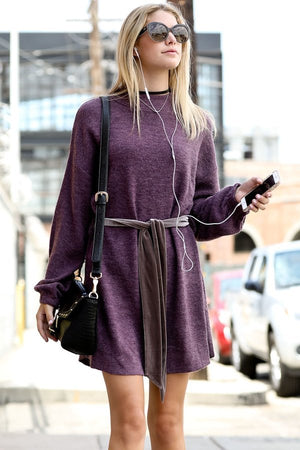 Women's Mock Neck Bell Sleeve Sweater Dress