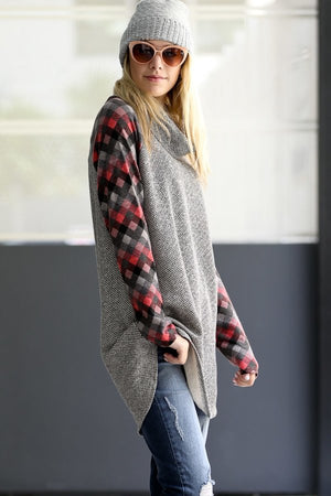 Cowl Neck Checkered Tunic Sweater